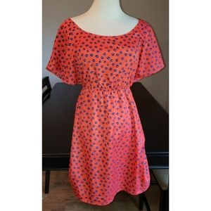 [Kiwi] Red and Blue Open Back Mini Dress